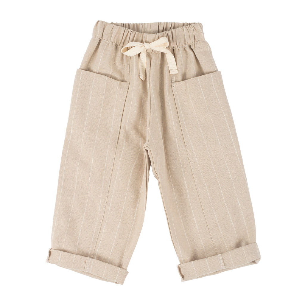 Square Pocket Boy Pant in Sand with Cream Stripe