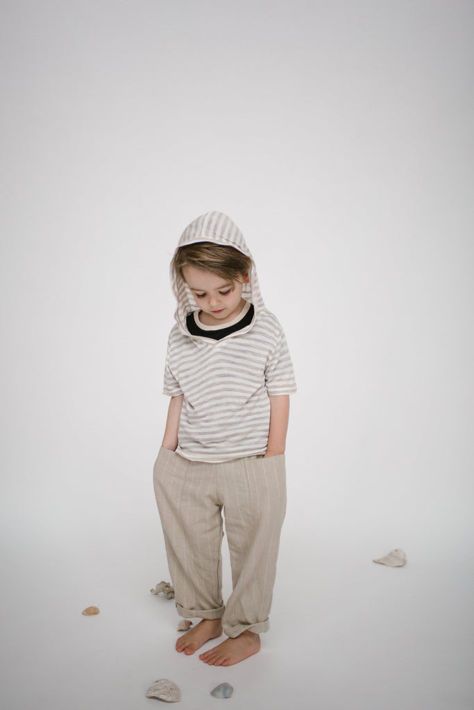 Square Pocket Pant in Sand with Cream Stripe