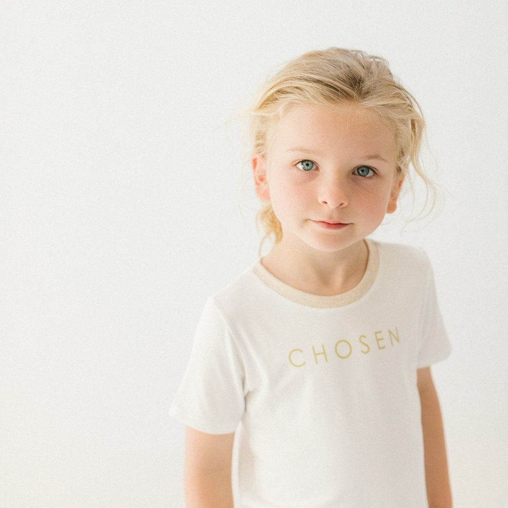 "Short Sleeve ""Chosen"" Drop Back  T-Shirt - White 