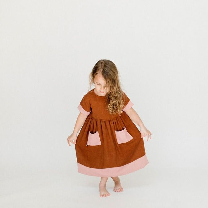 Birdie Dress - Clay + Natural | Will & Ivey