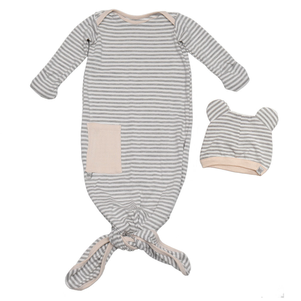 Knotted Gown + Mouse Ear Hat Gift Set - Stripe