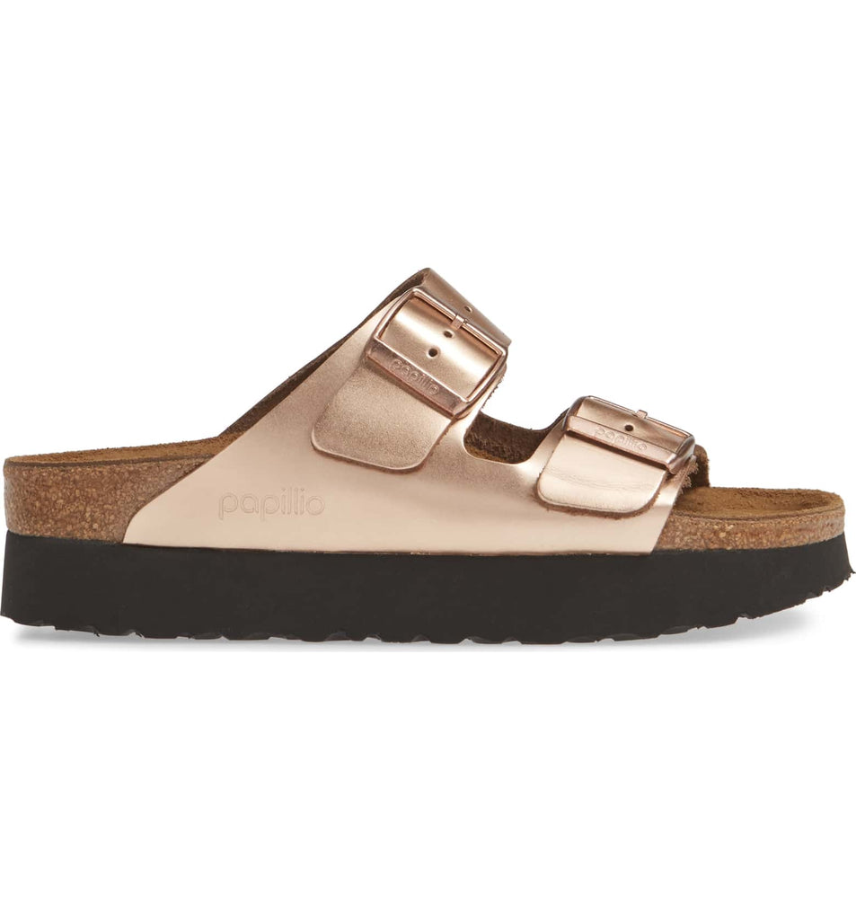 The Birkenstock Papillio Arizona Platform - Metallic Copper Women's Clothing - Shoes from Birkenstock at Shop Southern Roots TX