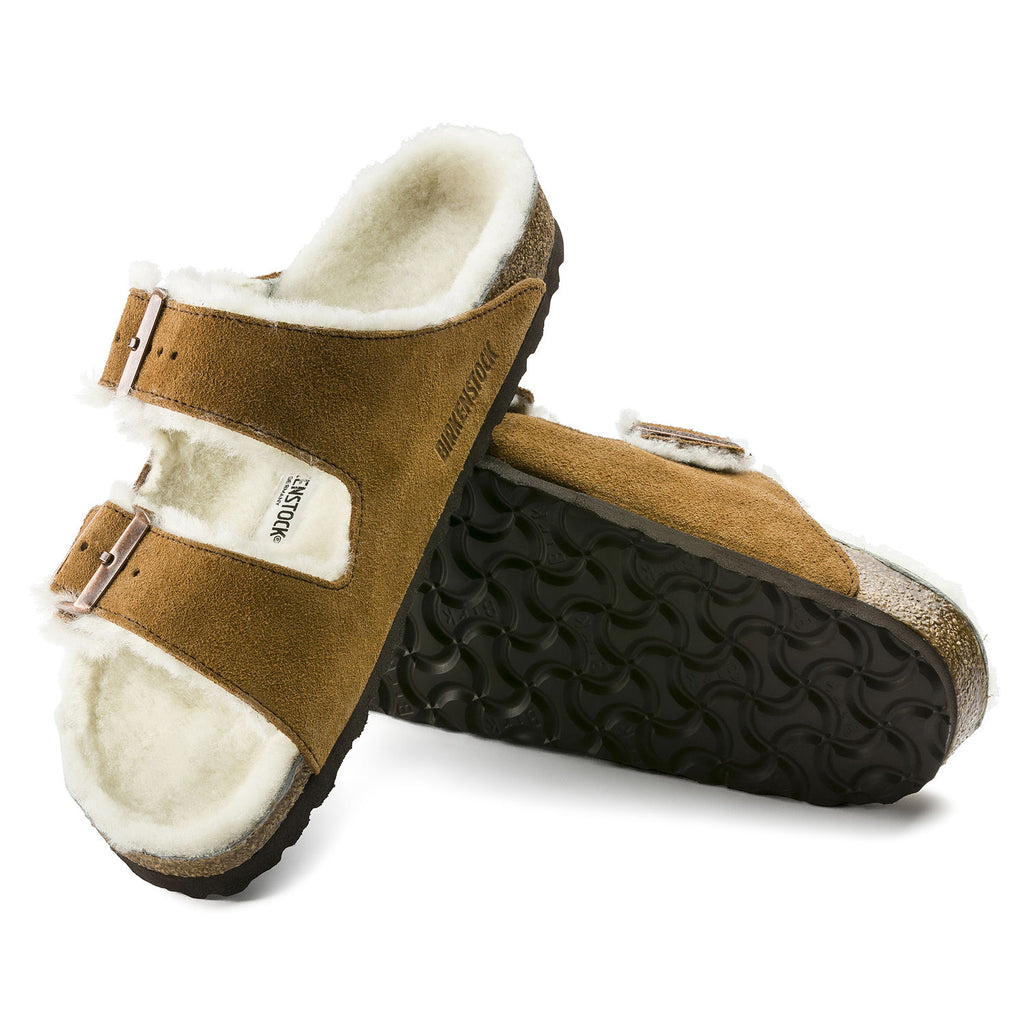 The Birkenstock Arizona Shearling Suede Leather - Mink Women's Clothing - Shoes from Birkenstock at Shop Southern Roots TX