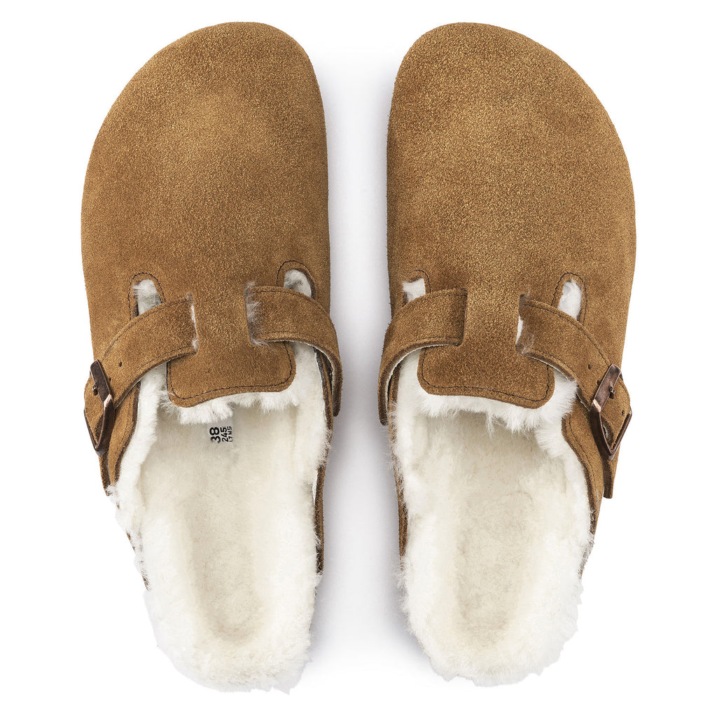 The Birkenstock Boston Shearling Suede Leather - Mink Women's Clothing - Shoes from Birkenstock at Shop Southern Roots TX