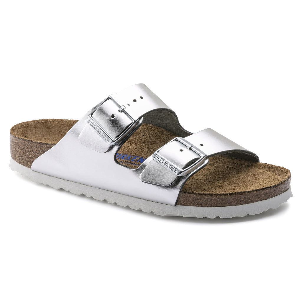 The Birkenstock Arizona Soft Footbed Leather - Metallic Silver w/White Women's Clothing - Shoes from Birkenstock at Shop Southern Roots TX