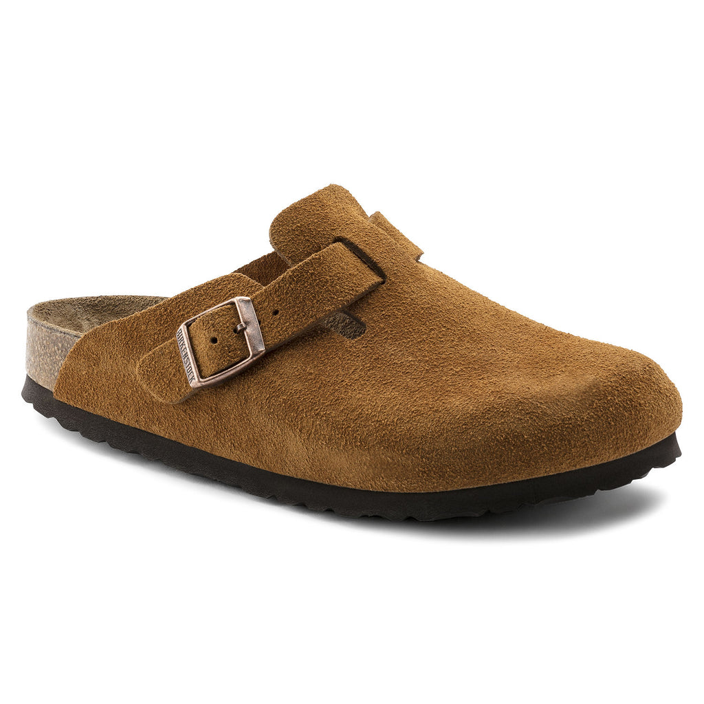 The Birkenstock Boston Soft Footbed Suede Leather - Mink Women's Clothing - Shoes from Birkenstock at Shop Southern Roots TX
