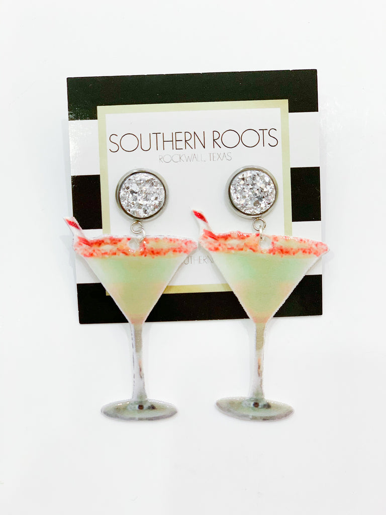 Candy Cane Martini Earrings - Green