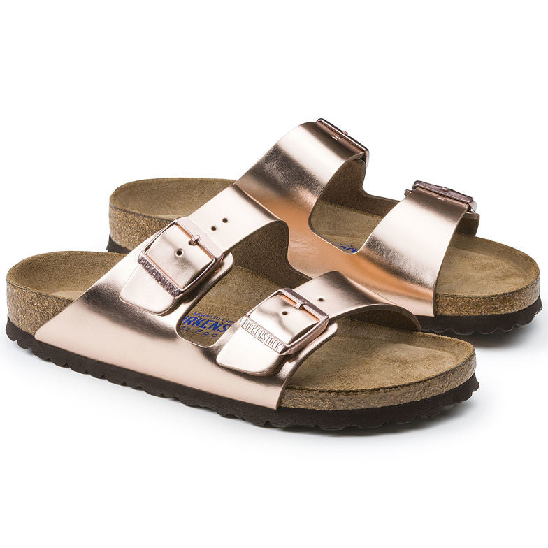 The Birkenstock Arizona Soft Footbed Leather - Metallic Copper Women's Clothing - Shoes from Birkenstock at Shop Southern Roots TX