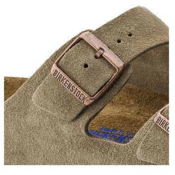 The Birkenstock Arizona Soft Footbed Suede Sandal - Taupe Women's Clothing - Shoes from Birkenstock at Shop Southern Roots TX
