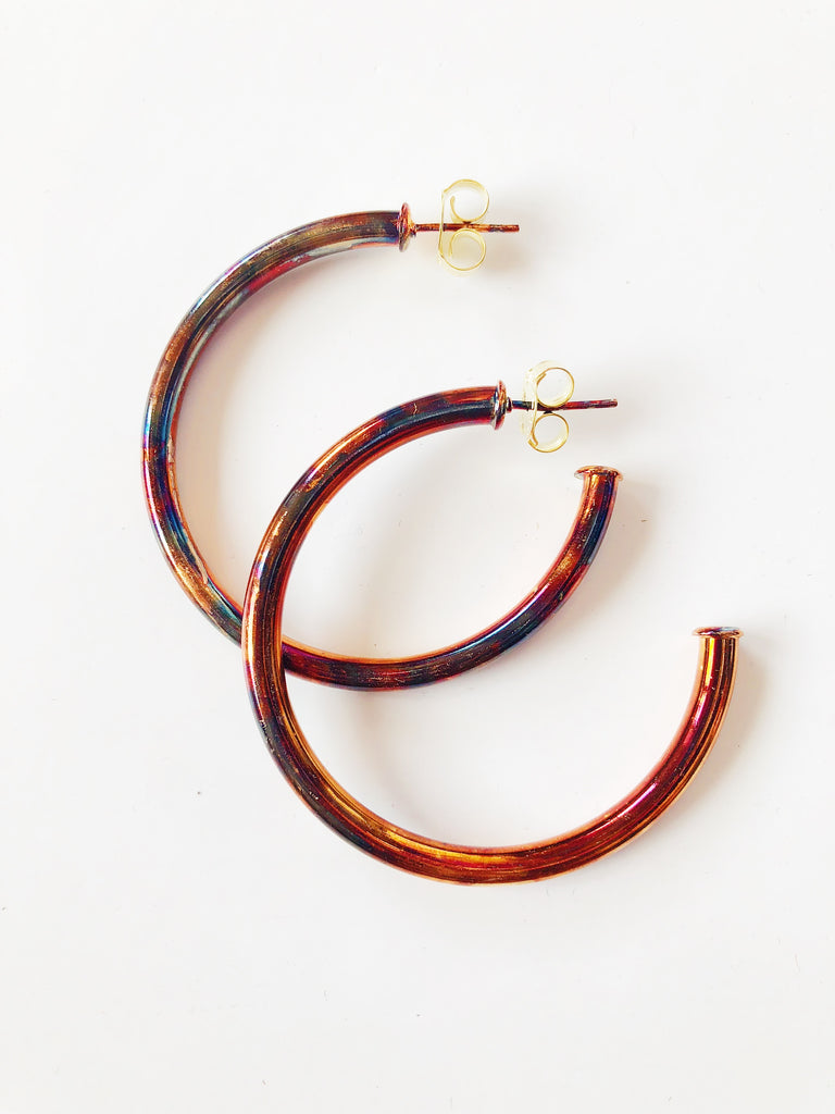 The Small Everybody's Favorite Hoop Earrings- Burnished Gold Jewelry - Earrings from Sheila Fajl at Shop Southern Roots TX