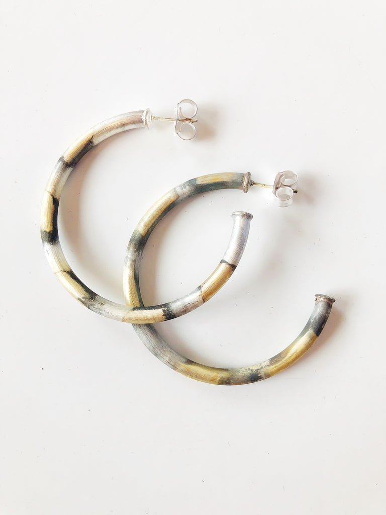 The Small Everybody's Favorite Hoop Earrings- Burnished Silver Jewelry - Earrings from Sheila Fajl at Shop Southern Roots TX