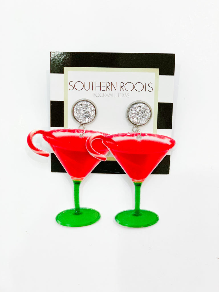 Candy Cane Martini Earrings - Red
