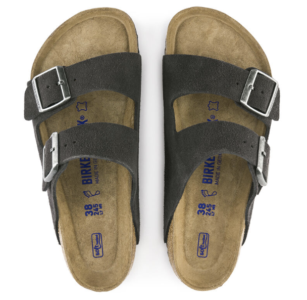 The Arizona Soft Footbed Suede Leather - Velvet Gray Women's Clothing - Shoes from Birkenstock at Shop Southern Roots TX