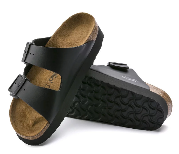 The Birkenstock Papillio Arizona Platform Birko-Flor - Black Women's Clothing - Shoes from Birkenstock at Shop Southern Roots TX