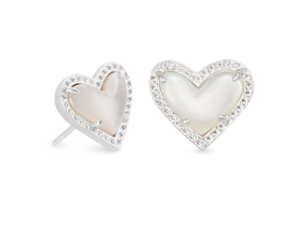 Ari Heart Stud Earring - Rhodium Ivory Mother of Pearl