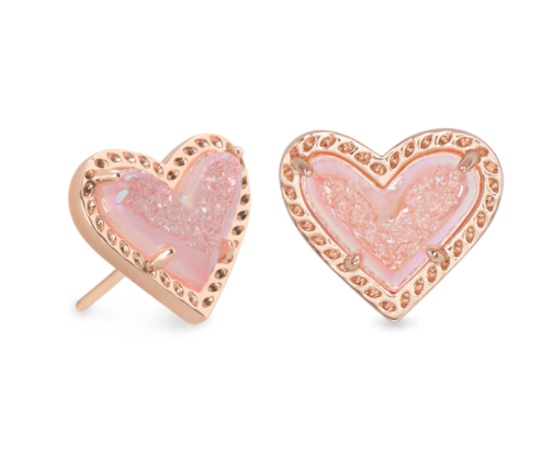 Ari Heart Stud Earring - Rose Gold Pink Drusy