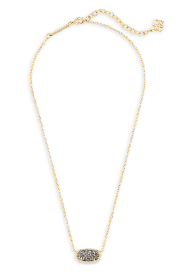 Elisa Gold Necklace - Platinum Drusy