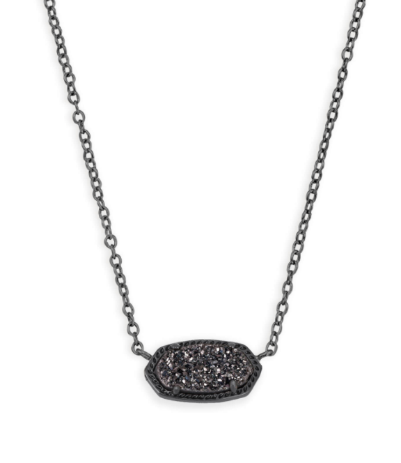 Elisa Gunmetal Necklace - Black Drusy