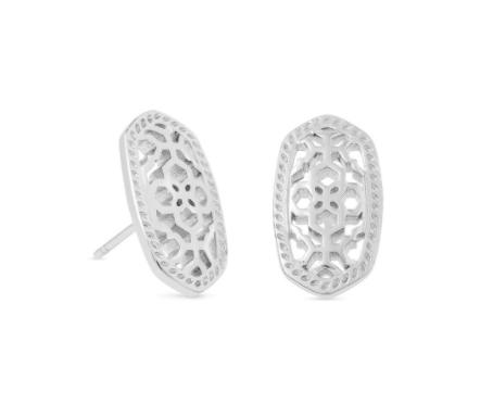 Ellie Earrings - Rhodium Filigree Metal
