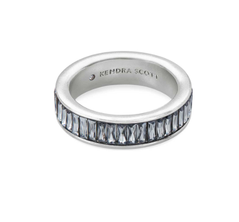 Jack Band Ring - Rhodium Gray Crystal