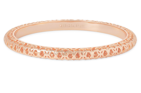 Maggie Bangle Bracelet - Rose Gold Filigree Metal