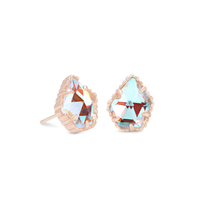 Tessa Rose Gold Earring - Dichroic Glass