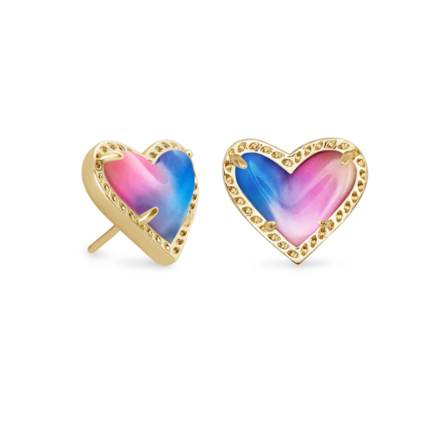Ari Heart Stud Earrings - Gold Watercolor