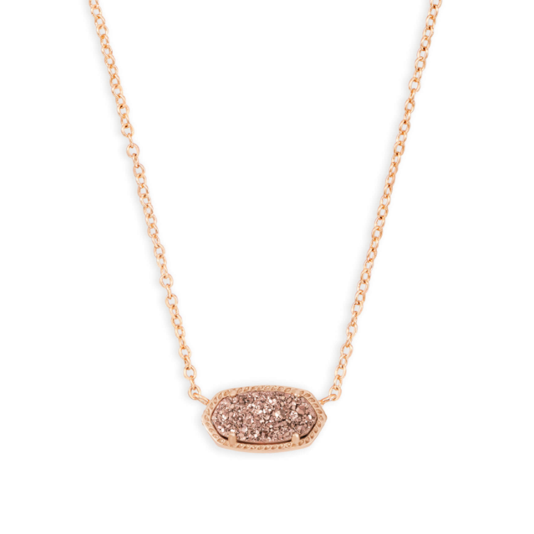 Elisa Rose Gold Necklace - Rose Gold Drusy