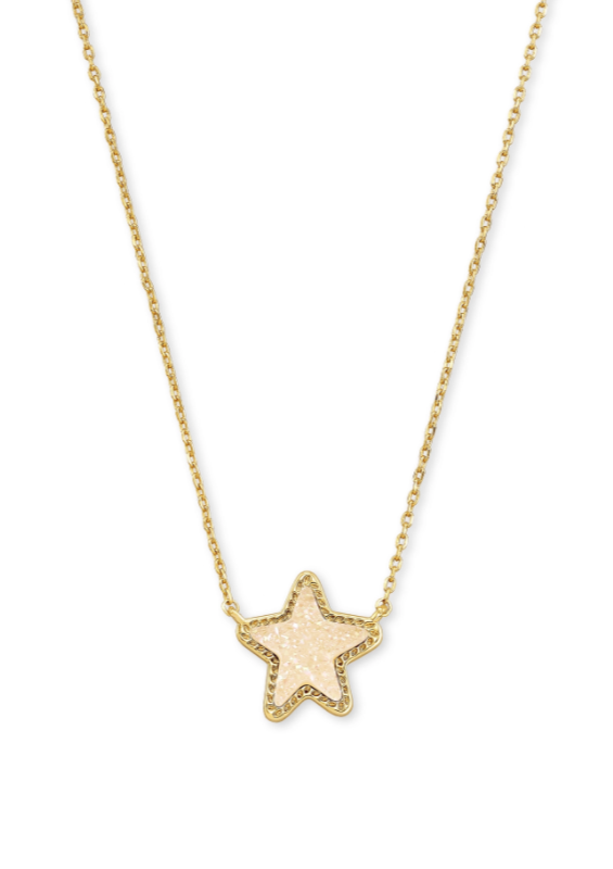 Jae Star Gold Short Pendant - Iridescent Drusy