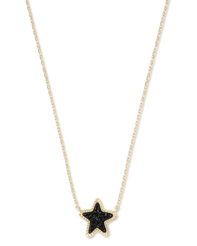 Jae Star Gold Short Pendant - Black Drusy