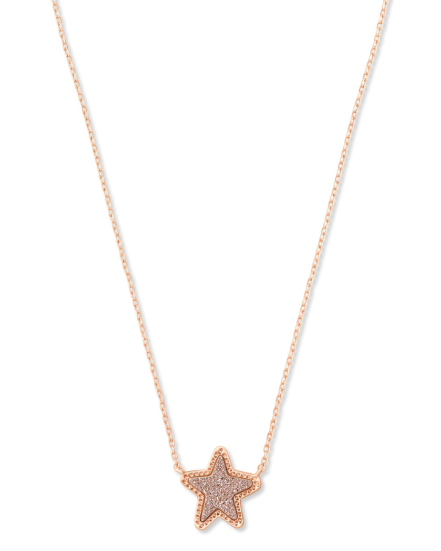 Jae Star Rose Gold Short Pendant - Rose Gold Drusy