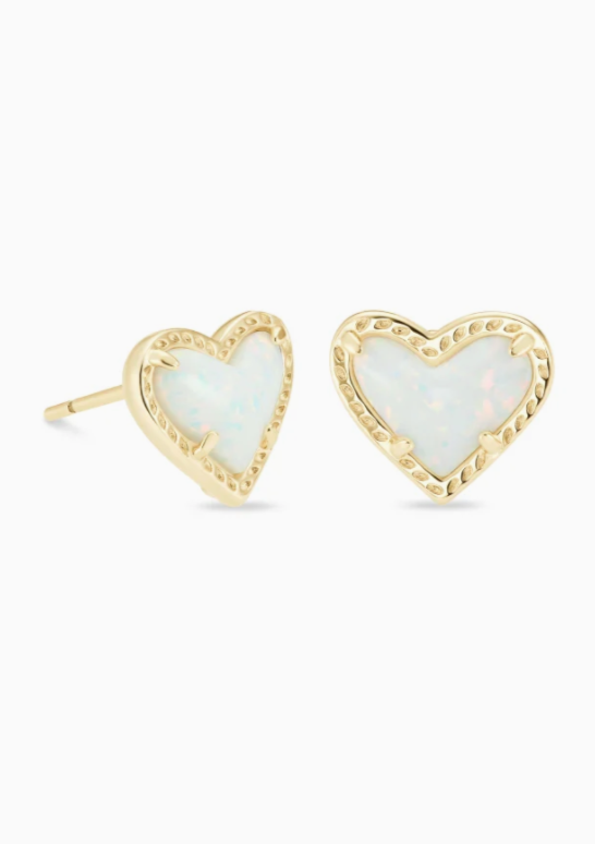 Ari Heart Gold Stud Earrings - White Opal