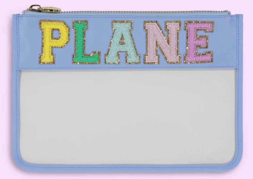 'PLANE' Clear Flat Pouch - Periwinkle