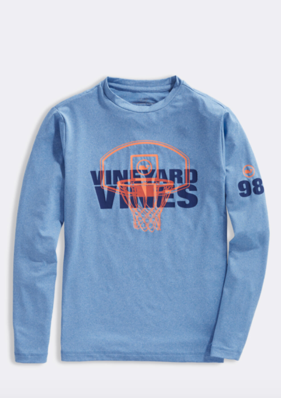 Vineyard Vines Boys L/S Hoop Knockout Performance T-Shirt - Hull Blue Heather