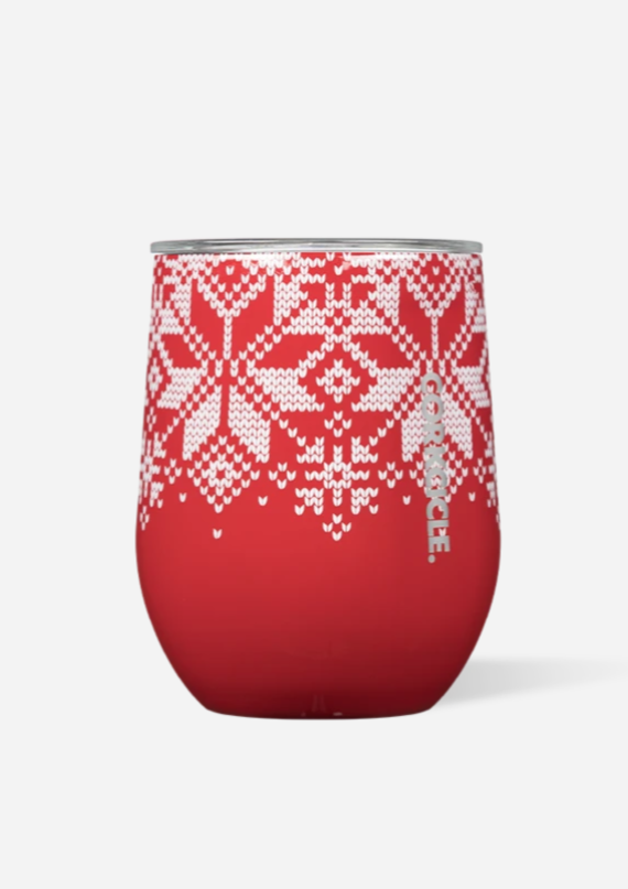 CORKCICLE 12 oz Stemless Tumbler - Fairisle Red