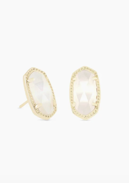 Ellie Gold Earrings - Ivory Mother of Pearl