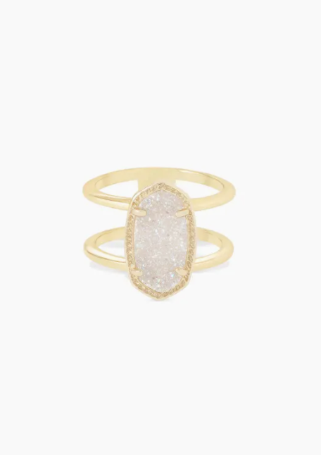 Elyse Gold Ring - Iridescent Drusy