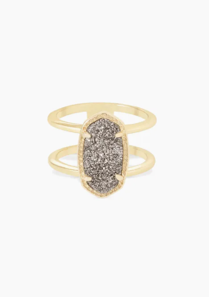 Elyse Gold Ring - Platinum Drusy