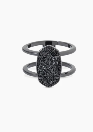 Elyse Gunmetal Ring - Black Drusy