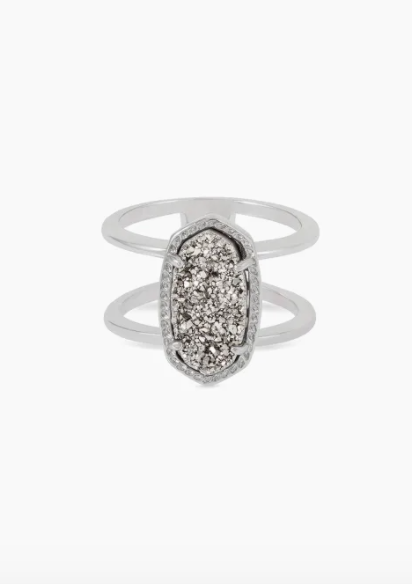 Elyse Rhodium Ring - Platinum Drusy