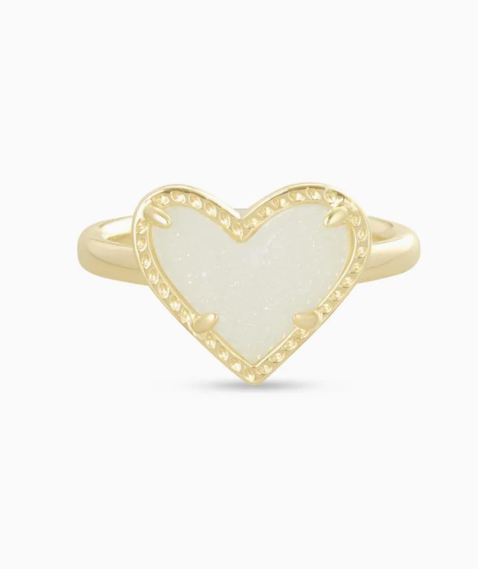 Ari Heart Gold Band Ring - Iridescent Drusy