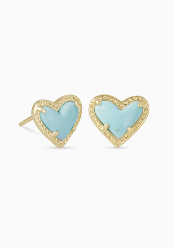Ari Heart Gold Stud Earrings - Light Blue Magnesite