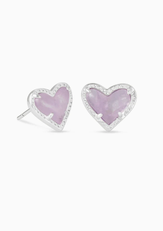 Ari Heart Rhodium Stud Earrings - Amethyst