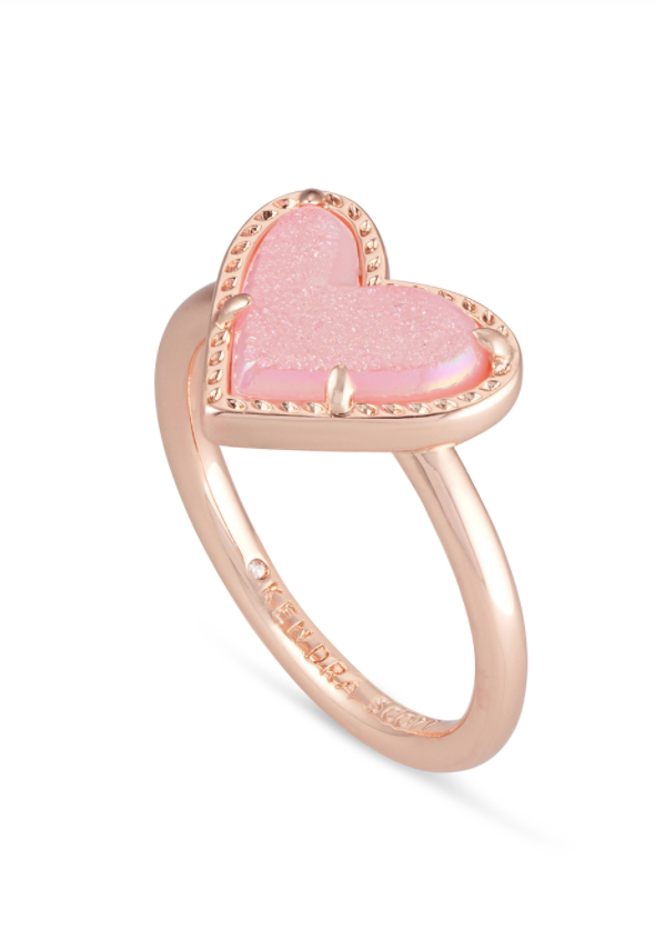 Ari Heart Rose Gold Band Ring - Light Pink Drusy