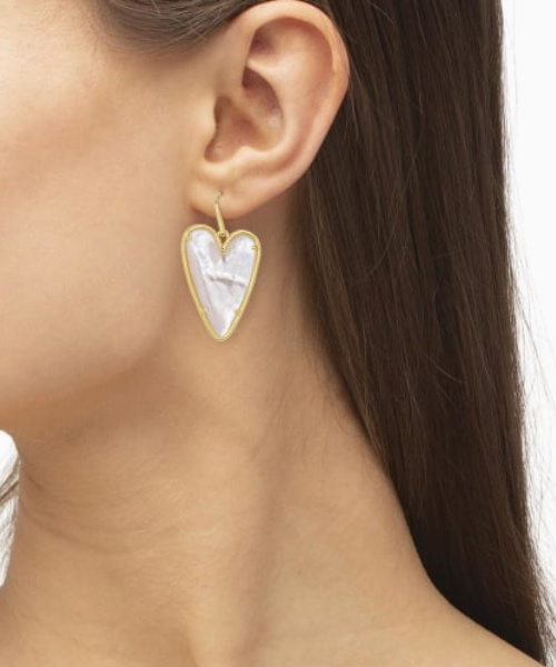Ansley Gold Drop Earrings - Ivory Mother of Pearl
