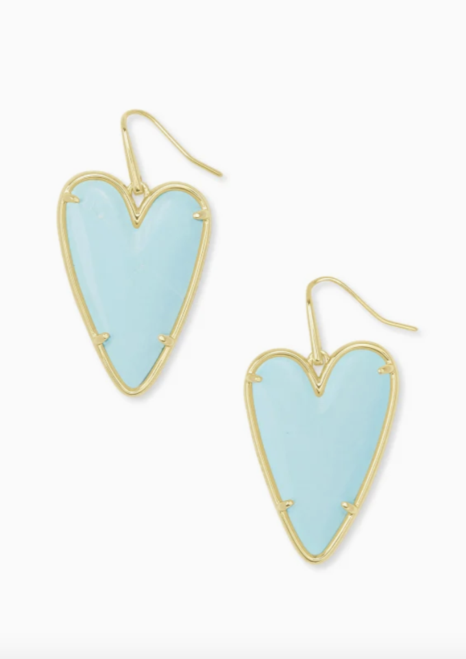 Ansley Gold Drop Earrings - Light Blue Magnesite