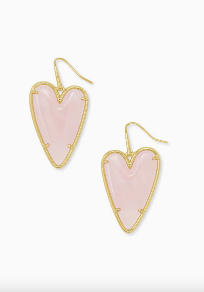 Ansley Gold Drop Earrings - Rose Quartz