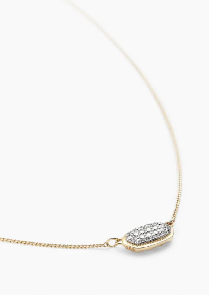 Lisa 14K Gold Necklace - White Diamond