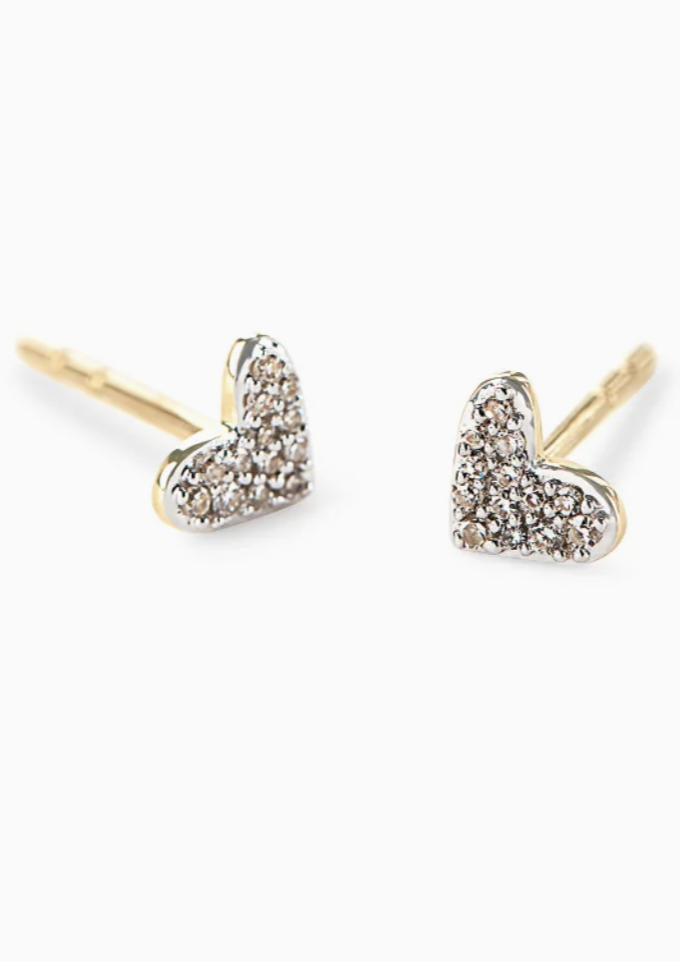 14K Gold Heart Earrings - White Diamond