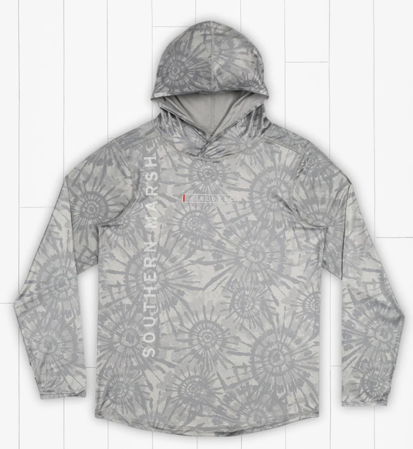 FieldTec Featherlight Hoodie - Tie Dye: Light Gray & White